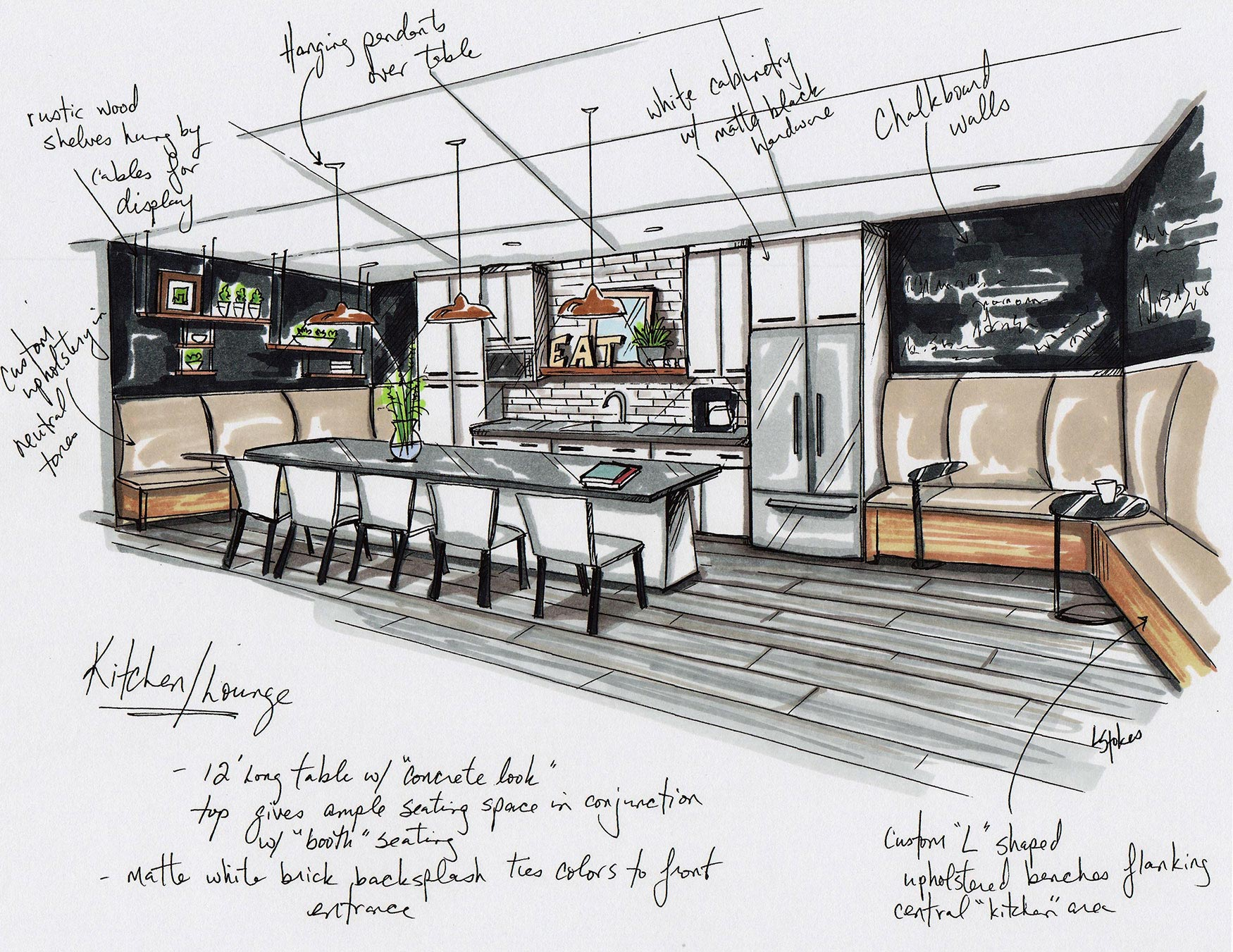 Interior Design Sketches of Evolve College's Kitchen
